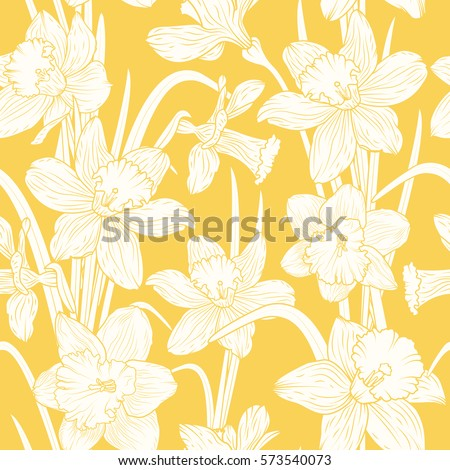 narcissus daffodils seamless...