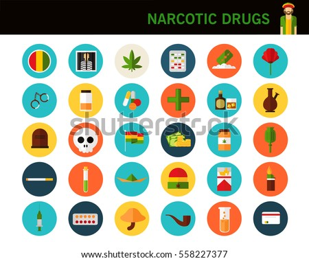 narcotic drugs concept flat