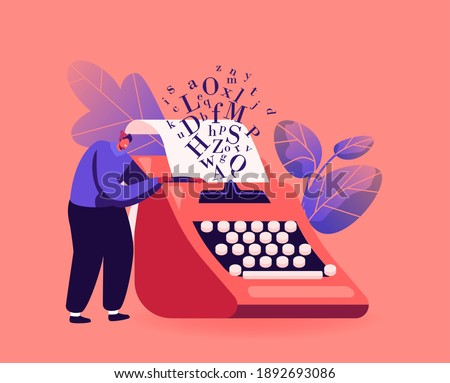 Narration Hobby, Creativity Concept. Tiny Male Character Writer or Professional Author Stand at Huge Typewriter, Man Create Books Composition, Writing Poetry or Novel. Cartoon Vector Illustration Stockfoto ©