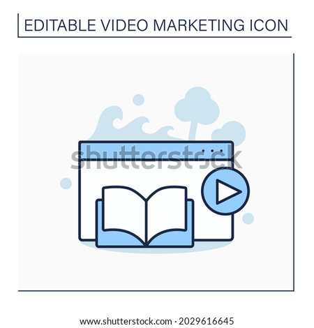 Narrative video line icon. Video clip include classic storytelling elements, characters, sequence of events.Moving image.Video marketing concept. Isolated vector illustration. Editable stroke Сток-фото ©