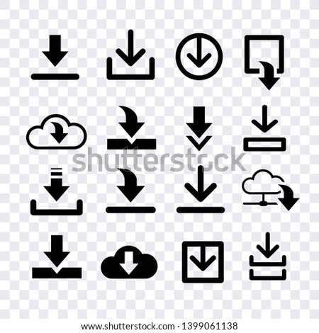 narrow download vector, arroows download black icons vector isolated  for creating button, bar and web app icons, download now symbol, vector arrow down document file symbol icon set