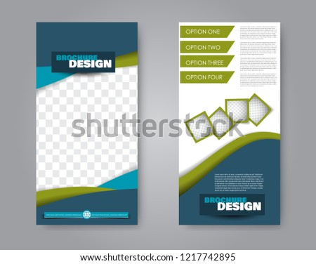 Narrow flyer and leaflet design. Set of two side brochure templates. Vertical banners. Blue and greene colors. Vector illustration mockup. #1217742895
