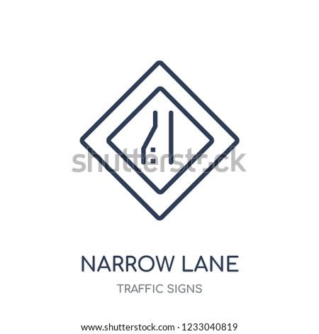 narrow lane sign icon narrow