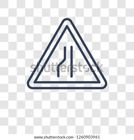 narrow lane sign icon trendy
