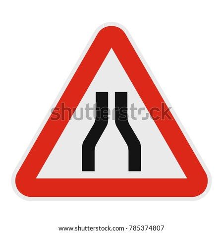 Narrowing of the road icon. Flat illustration of narrowing of the road vector icon for web.