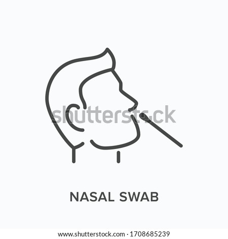 Nasal swab line icon. Vector outline illustration of viral exam. Head and virus test pictorgam