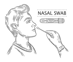 Nasal swab probe line icon. Medical coronavirus testing. Doctor makes DNA or PCR test virus Covid-19 to patient. Laboratory analysis. Tube with lab sample. Research viral infection. Hand drawn vector