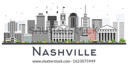 Nashville Tennessee City Skyline with Color Buildings Isolated on White. Vector Illustration. Business Travel and Tourism Concept with Modern Architecture. Nashville Cityscape with Landmarks.