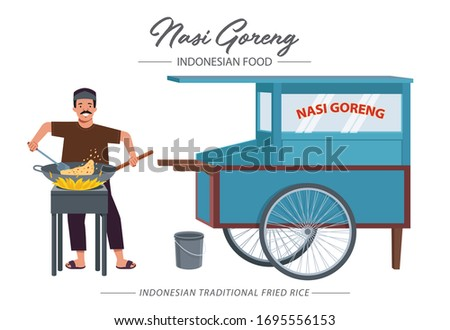 Nasi goreng meaning fried rice, is a popular Indonesian or Malaysian rice dish. Illustration of a fried rice seller cooking on a stove while smiling next to a fried rice cart.