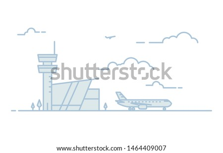 National airport line illustration. Big passenger airplane and airport building with tower on background. Sky with clouds. Linear modern, trendy vector banner.