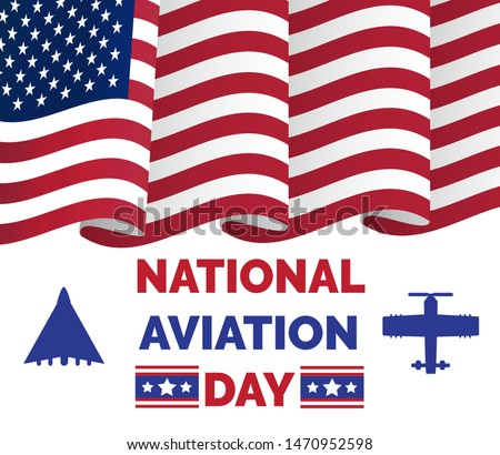 National Aviation Day in USA, celebrated in August. Silhouettes of passenger and military aircraft of the United States and flag of the United States. U.S. air force birthday concept for web, banner.