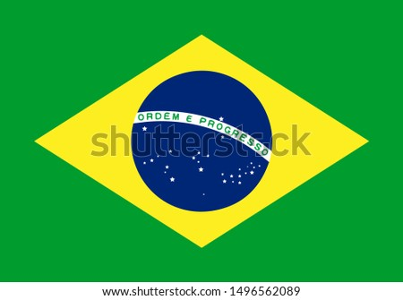 National Brazil flag. Simple flat vector illustration eps10