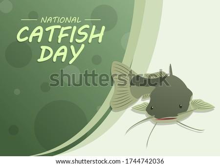 National Catfish Day, Horizontal Poster Template Сток-фото ©