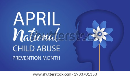 National Child Abuse Prevention Month. April. Boy silhouette with pinwheel on blue background. Stop child violence. Template for banner, card, poster with text inscription. Vector illustration. Foto stock ©