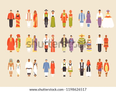 National costumes of China, India, USA, Indonesia, Pakistan, Brazil, Nigeria, Bangladesh, Russia Japan Mexico Philippines Egypt Ethiopia Vietnam Germany Iran and Congo