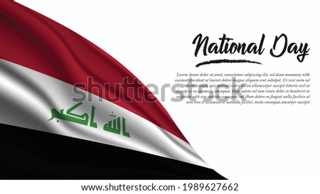 National Day Banner with Iraq Flag background. It will be used for Poster, Greeting Card. Vector Illustration.