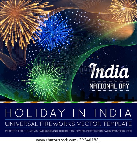 National Day of Country in Blending Lines Style with Fireworks Vector #393401881