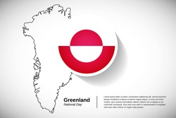 National day of Greenland. Abstract national holiday of Greenland with map design elements and country flag in circle. Elegant greeting card, banner vector illustration.