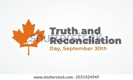 national day of truth and reconciliation modern creative banner, design concept, social media post with white text on an orange background  Photo stock ©