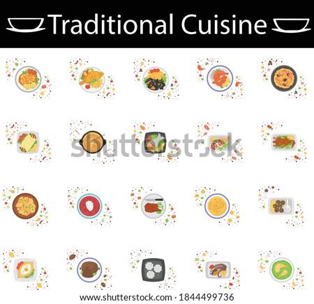 national dishes icons set
