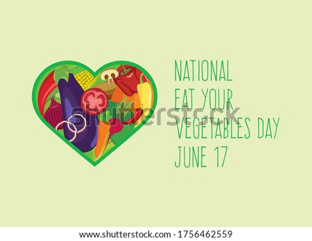 National Eat Your Vegetables Day vector. Vegetable heart shape icon vector. Different types of vegetables vector. Heart shaped vegetables set. Eat Your Vegetables Day Poster, June 17. Important day