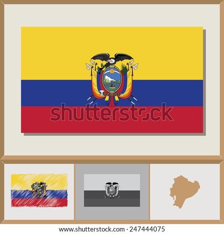 National Flag And Country Silhouette Of Ecuador Ez Canvas