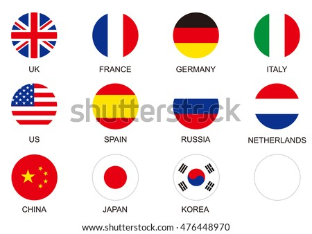 national flag circle icon set