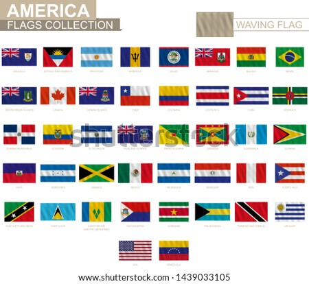 National flag of American countries with waving effect, official proportion. Big collection of vector flag.