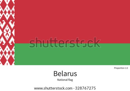 National flag of Belarus with correct proportions, element, colors for education books and official documentation