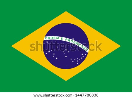 national flag of Federative Republic of Brazil in the original colours and proportions