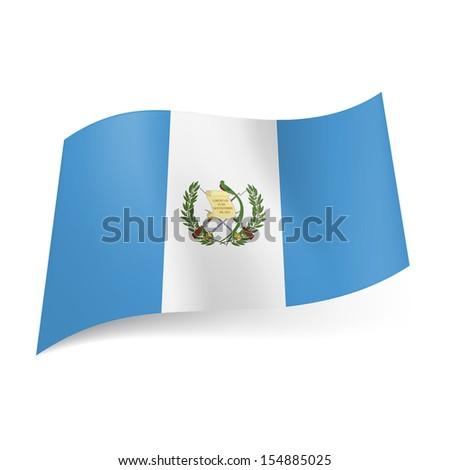 National flag of Guatemala: white stripe with coat of arms between blue ones.