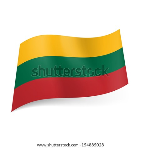 National flag of Lithuania: yellow, green and red horizontal stripes.
