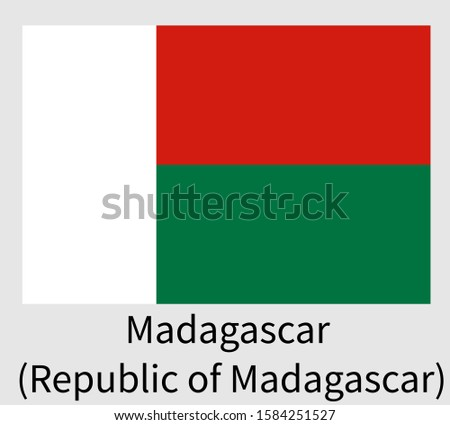 National Flag of Madagascar (Republic of Madagascar)