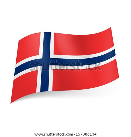 National flag of Norway: white bordered blue Scandinavian cross on red background.