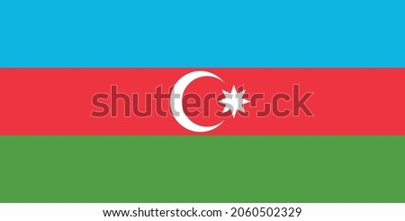 National flag of Republic of Azerbaijan original size and colors vector illustration, Azerbaycan bayragi or Azerbaijanis Azeris, flag Azerbaijan Democratic Republic