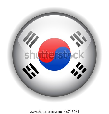 National flag of South Korea ? Korean flag. glossy button, vector