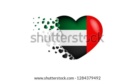 National flag of United Arab Emirates in heart illustration. With love to United Arab Emirates country. The national flag of United Arab Emirates fly out small hearts