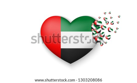 National flag of United Arab Emirates in heart illustration. With love to United Arab Emirates country. The national flag of United Arab Emirates fly out small hearts on white background