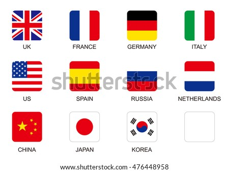 national flag square icon set