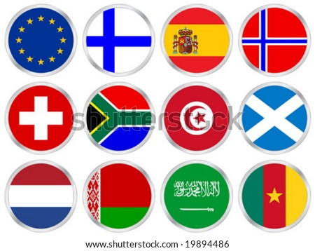 National flags circle icon set. Vector illustration.