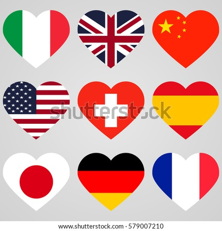 national flags hearts