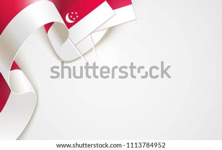 National flags of Singapore isolated on white background. Patriotic Symbolic background. Vector illustration