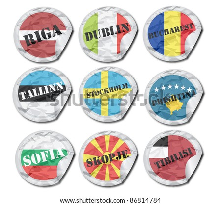 national flags paper tags