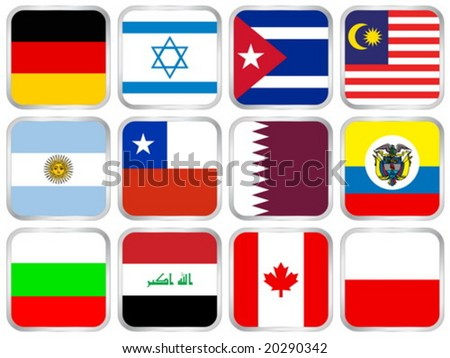 National flags square icon set. Vector illustration. - stock vector