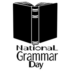 National Grammar Day, Silhouette of an open book, dictionary, reference, etc. vector illustration