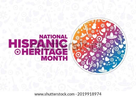 National Hispanic Heritage Month. Holiday concept. Template for background, banner, card, poster with text inscription. Vector EPS10 illustration