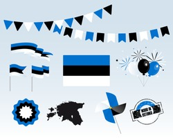 National holiday. Independence Day of Estonia, set of vector design elements. Made in Estonia. Map, flags, ribbons, turntables, sockets. Vector. 24 February. Symbolism