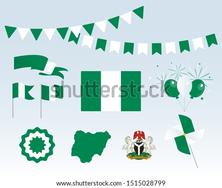 National holiday. Independence Day of Nigeria, set of vector design elements. Map, coat of arms, flags, ribbons, turntables, sockets. Vector. Symbolism
