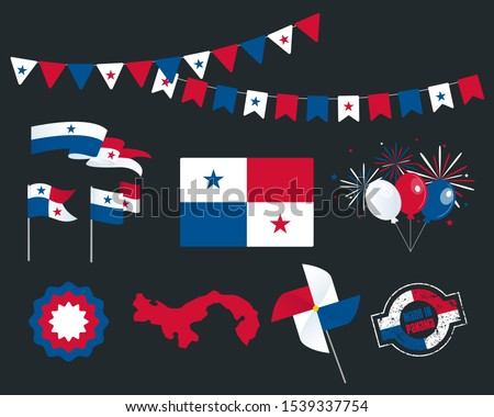 National holiday. Independence Day of Panama, set of vector design elements. Made in Panama. Map, flags, ribbons, turntables, sockets. Vector. November 28. Symbolism