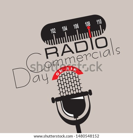 National holiday Radio Commercials Day. Poster for the event in August.